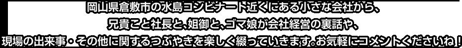 岡山県倉敷市の水島コンビナート近くにある小さな会社から、兄貴こと社長と、姐御と、ゴマ娘が会社経営の裏話や、現場の出来事・その他に関するつぶやきを楽しく綴っていきます。お気軽にコメントくださいね!